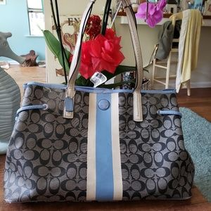 Coach Tattersal Blue Striped Extra Large Tote Bag